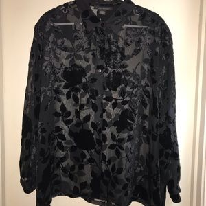 Lane Bryant button up sheer blouse 18/20